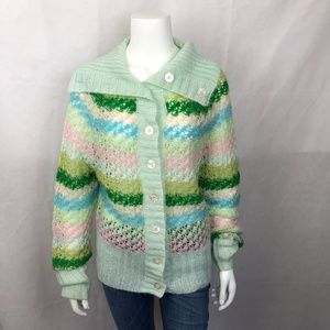 Free People Stripe Wool Cardigan Sweater L